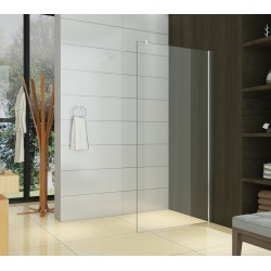 Paroi de douche walk in - transparente - 140 x 200 cm - Calixa - AZZURO