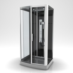 Cabine de douche complète - Radio FM et bluetooth - 90 x 115 x 215 cm - Premium II Rectangle - AURLANE
